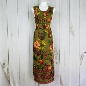 R&K Green Tropical Print Maxi Dress